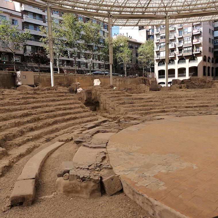 Vista de la cavea del teatro romano de Caesar Augusta de Zaragoza