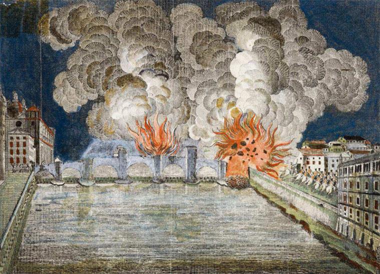 Voladura del puente de Piedra de Zaragoza la noche del 9 de julio de 1813, al ser abandonada por los franceses. Aguafuerte anónimo, atribuido a M. Latassa.