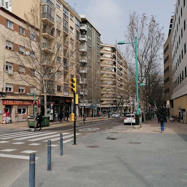 inicio del la calle sobrarbe de zaragoza