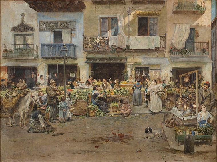 Mercado de Zaragoza situado entre los porches de las calles Cerdán y Escuelas Pías, hoy desaparecidas