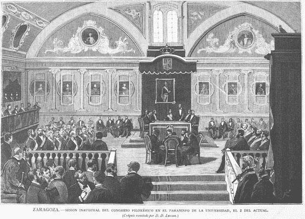 El Paraninfo de la antigua Universidad de Zaragoza, acogiendo el Congreso Filoxérico en 1880
