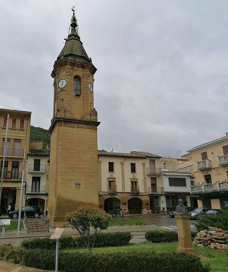 La Torre del reloj de Ayerbe es una obra civil, de estilo barroco, erigida en 1798 – 1799 para albergar el reloj del Concejo