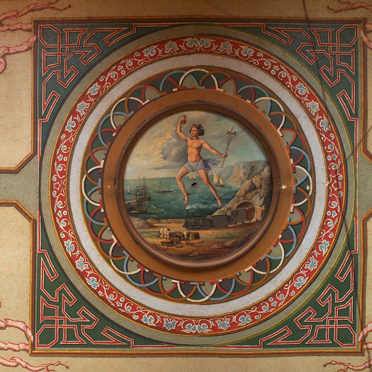 frescos con motivos alusivos al comercio firmados por León Abadías