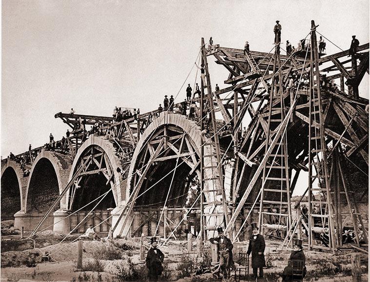 Construcción del Puente de los Franceses en Madrid (1859)