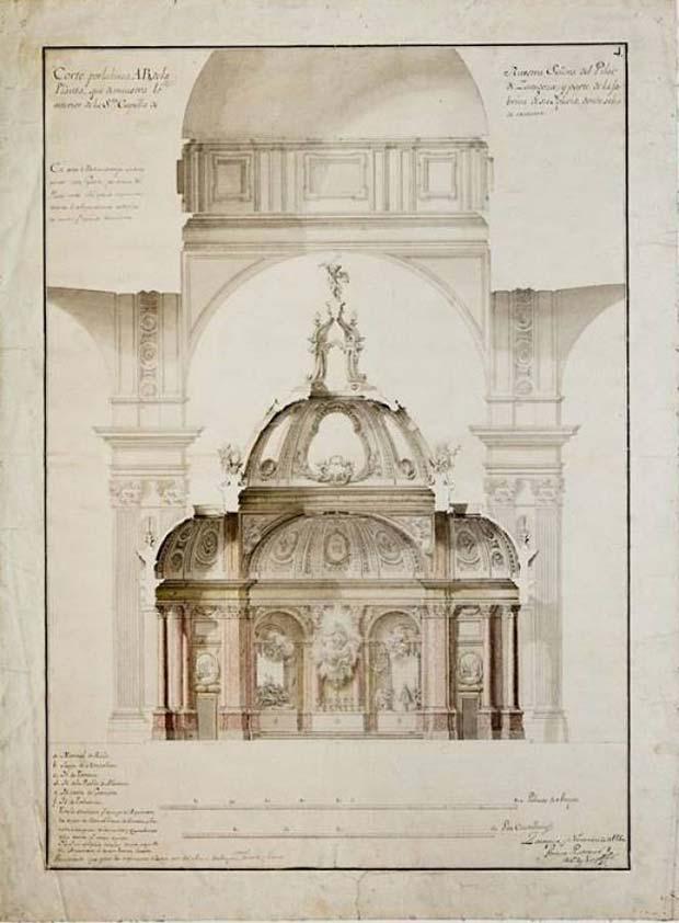 Planta de la Santa Capilla de la Basílica del Pilar en Zaragoza, uno de los trabajos más reconocidos del arquitecto Ventura Rodríguez