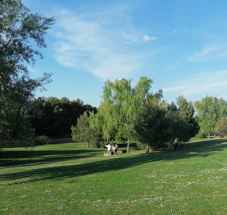 jovenes paseando por el parque del barranco de zaragoza