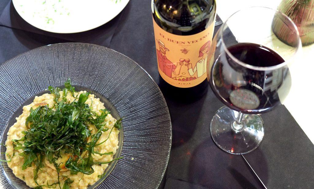 Risotto de tufa y boletus, parmesano, escalopa de foie y rúcula frita. Foto de Zaragoza Guía.