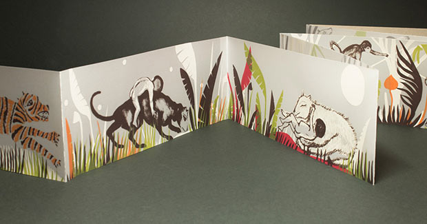 libro también serigrafiado con ilustraciones de Karishma Chugani, una artista india con la que el año pasado sacamos Songs of the Jungle.