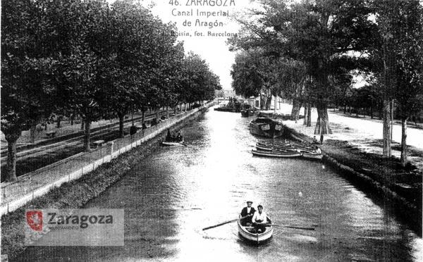 El Canal Imperial de Aragón en 1934 a su paso por el barrio de Torrero. Foto: Archivo Municipal de Zaragoza