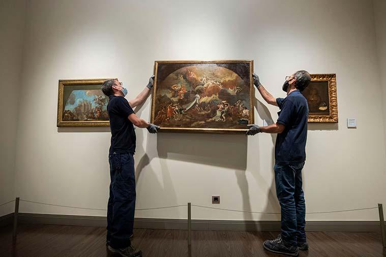 """La obra """"Construcción del Templo del Pilar por los Ángeles"""" se incorpora a la colección del Museo Goya"""