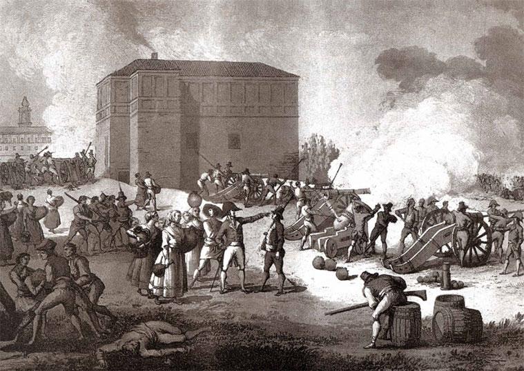 Grabado de Gálvez y Brambila. Batería de Puerta de Sancho, donde Mariano Renovales sostuvo y rechazó constantemente los ataques de los franceses.