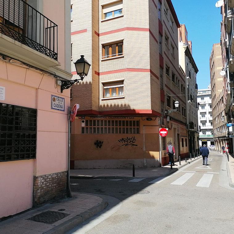 Casa de Goya en la esquina de las calles Cadena y Antonio Agustín
