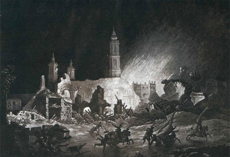 Grabado de Gálvez y Brambila. Explosión de La iglesia de Santa Engracia: en el día 4 de agosto de 1808 de resultas de haberla minado los franceses