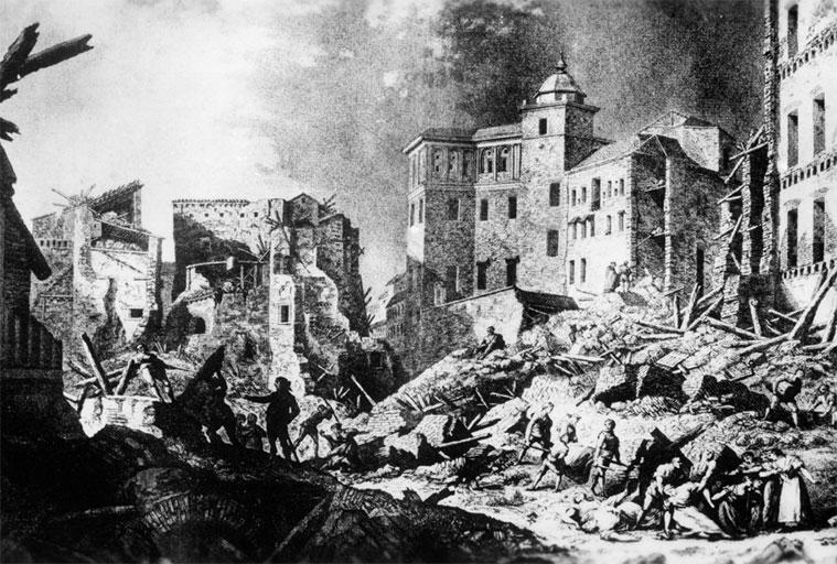 Grabado de Gálvez y Brambila. Ruinas del Seminario de San Carlos. Archivo Municipal de Zaragoza
