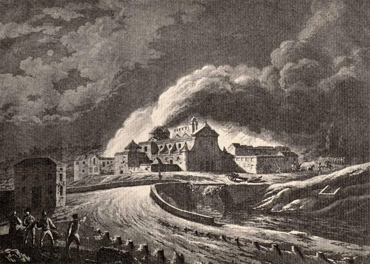 Grabado de Gálvez y Brambila. Vista del antiguo convento de San José encendido por los franceses.