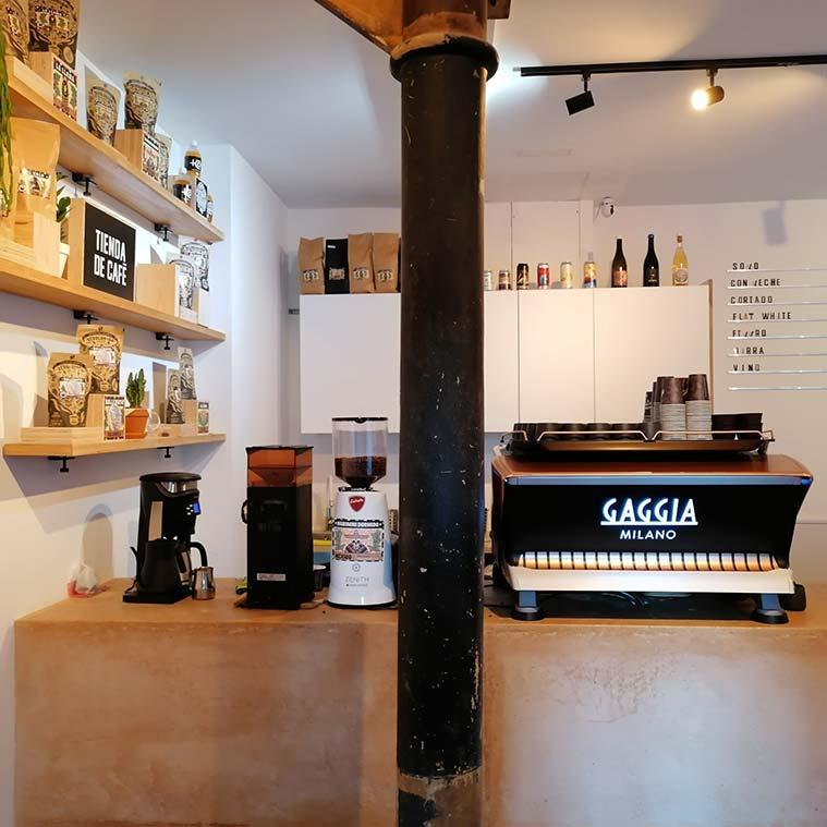 Mostrador de la cafeteria de especialidad Justicia Specialty Coffee