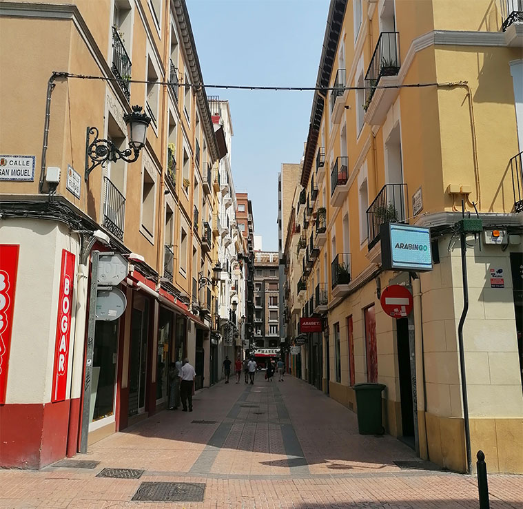 Vista de la Calle Rufas desde la Calle San Miguel