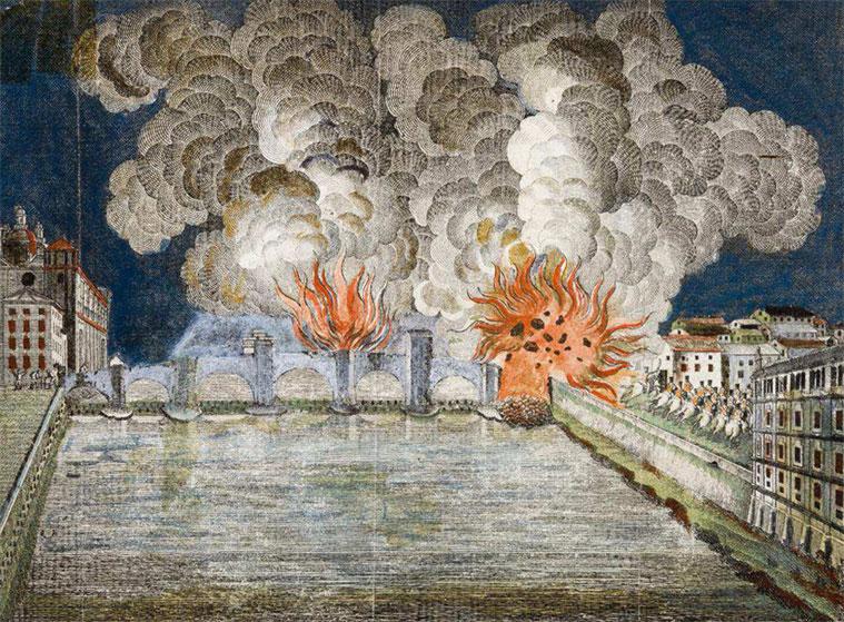 Voladura en incendio del puente de Piedra de Zaragoza la noche del 9 de julio de 1813, al ser abandonada por los franceses