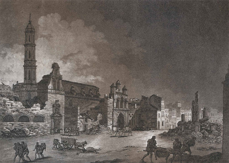 vista de la plaza de España en la época de los Sitios. La iglesia del Hospital de Nuestra Señora de Gracia, con su espadaña y un nido de cigüeña. La torre más alta corresponde a la iglesia del convento de San Francisco