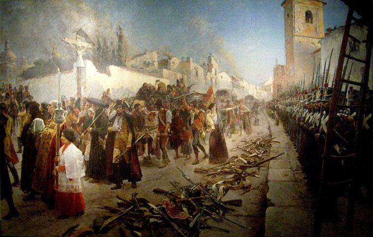 """""""Salida de los Defensores de Zaragoza"""", pintado por Maurice Orange en 1893"""