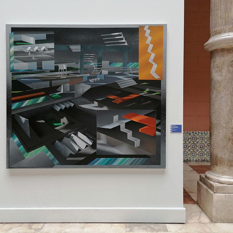 Fernando Romero ha ganado la XXXII edición del Premio Santa Isabel de Aragón por su pintura 'Colonia exoplaneta Kepler 80 g. Año 2243'