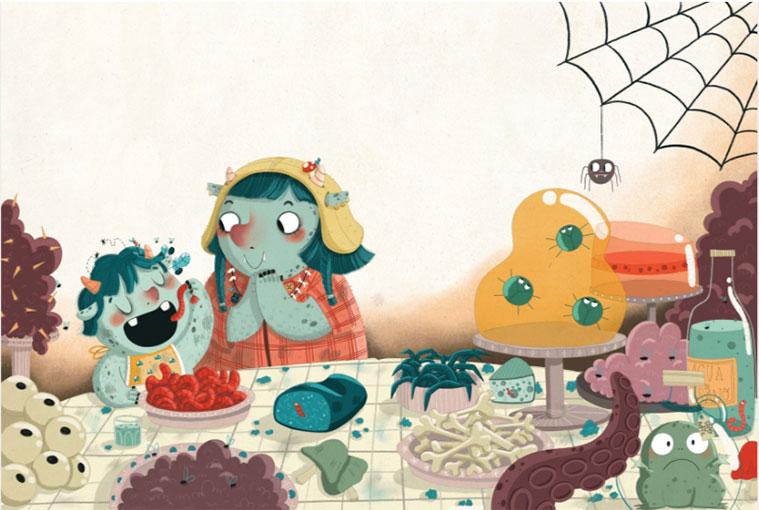 Ilustración de Mamen Marcén para 'El moco más rico del mundo', escrito por Valeria Kiselova y editado por Ediciones Jaguar