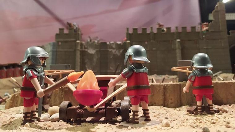 Romanos de Pompeyo y Metelo atacando la ciudad amurallada de Cabezo de Alcalá (Azaila, Teruel)