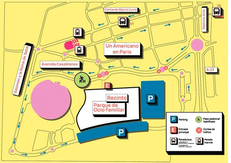 Mapa del Recinto ferial de Valdespartera para las fiestas del Pilar 2021